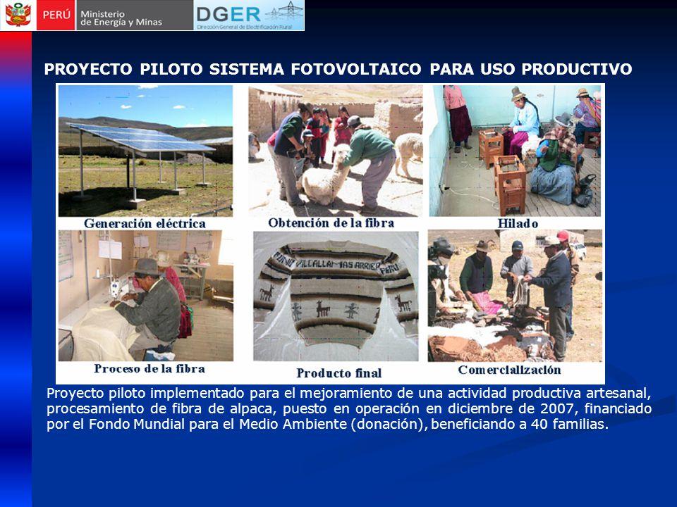 Proyecto piloto implementado para el mejoramiento de una actividad productiva artesanal, procesamiento de fibra de alpaca, puesto en operación en diciembre de 2007, financiado por el Fondo Mundial para el Medio Ambiente (donación), beneficiando a 40 familias.