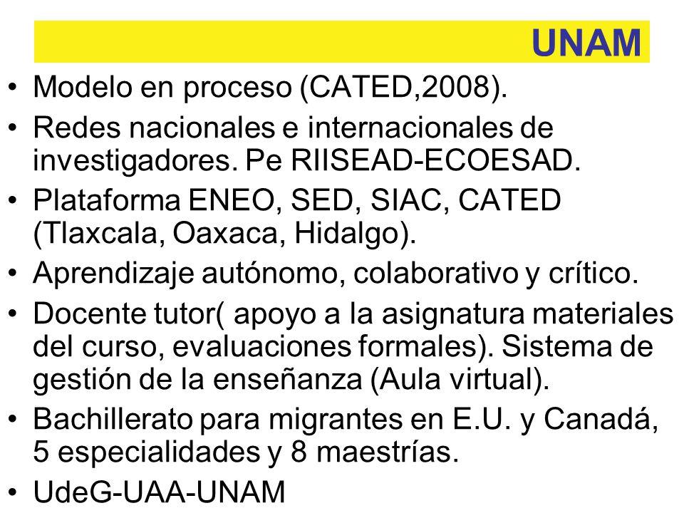 Modelo en proceso (CATED,2008). Redes nacionales e internacionales de investigadores.