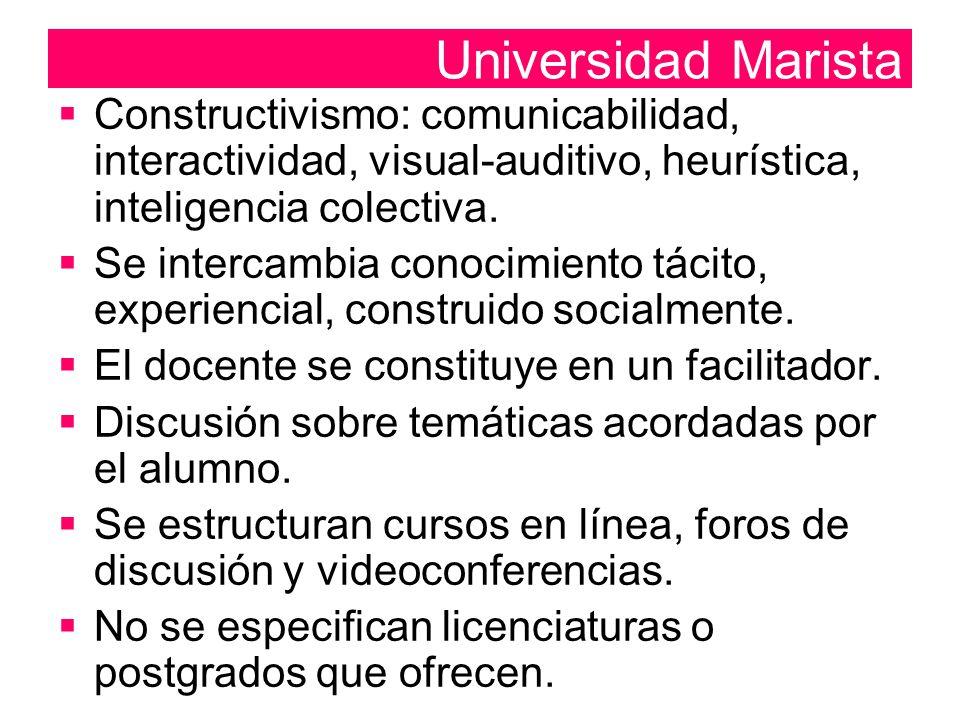  Constructivismo: comunicabilidad, interactividad, visual-auditivo, heurística, inteligencia colectiva.