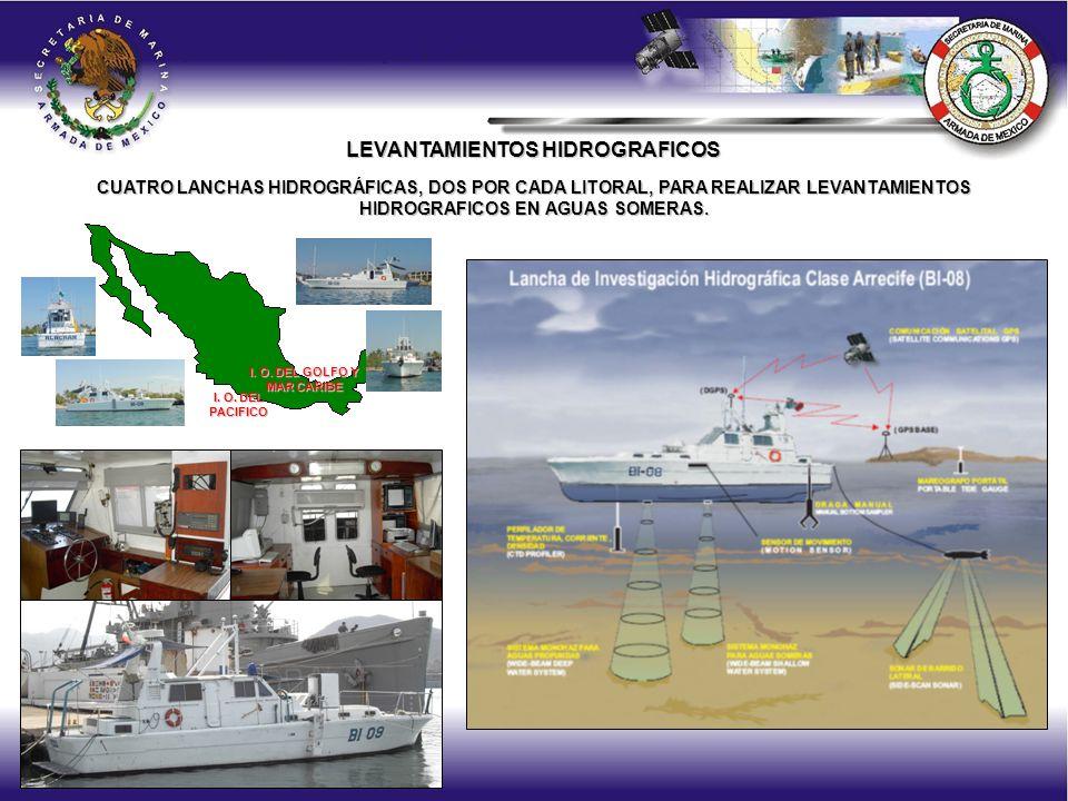 CUATRO LANCHAS HIDROGRÁFICAS, DOS POR CADA LITORAL, PARA REALIZAR LEVANTAMIENTOS HIDROGRAFICOS EN AGUAS SOMERAS.