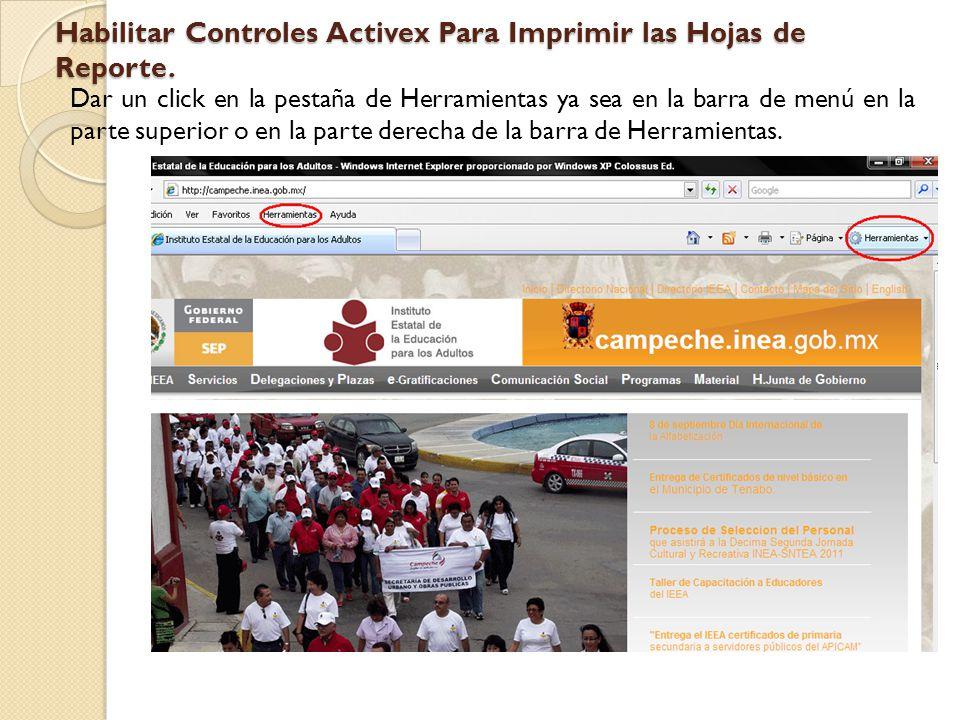 Habilitar Controles Activex Para Imprimir las Hojas de Reporte.