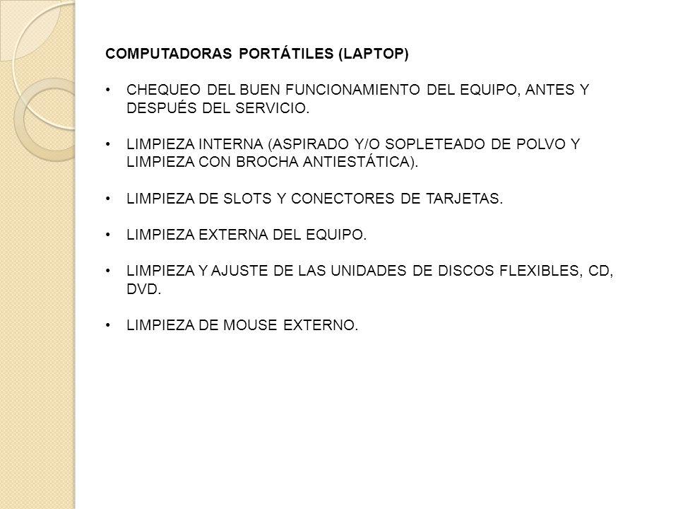 COMPUTADORAS PORTÁTILES (LAPTOP) CHEQUEO DEL BUEN FUNCIONAMIENTO DEL EQUIPO, ANTES Y DESPUÉS DEL SERVICIO.