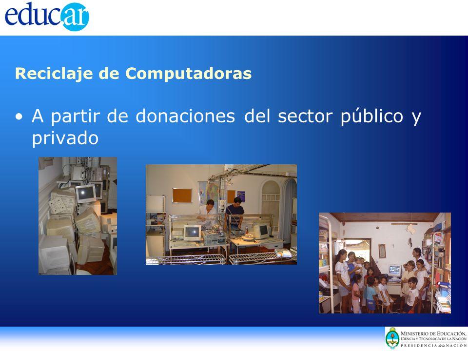 Reciclaje de Computadoras A partir de donaciones del sector público y privado