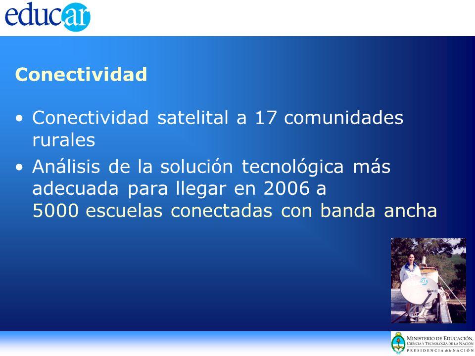 Conectividad Conectividad satelital a 17 comunidades rurales Análisis de la solución tecnológica más adecuada para llegar en 2006 a 5000 escuelas conectadas con banda ancha