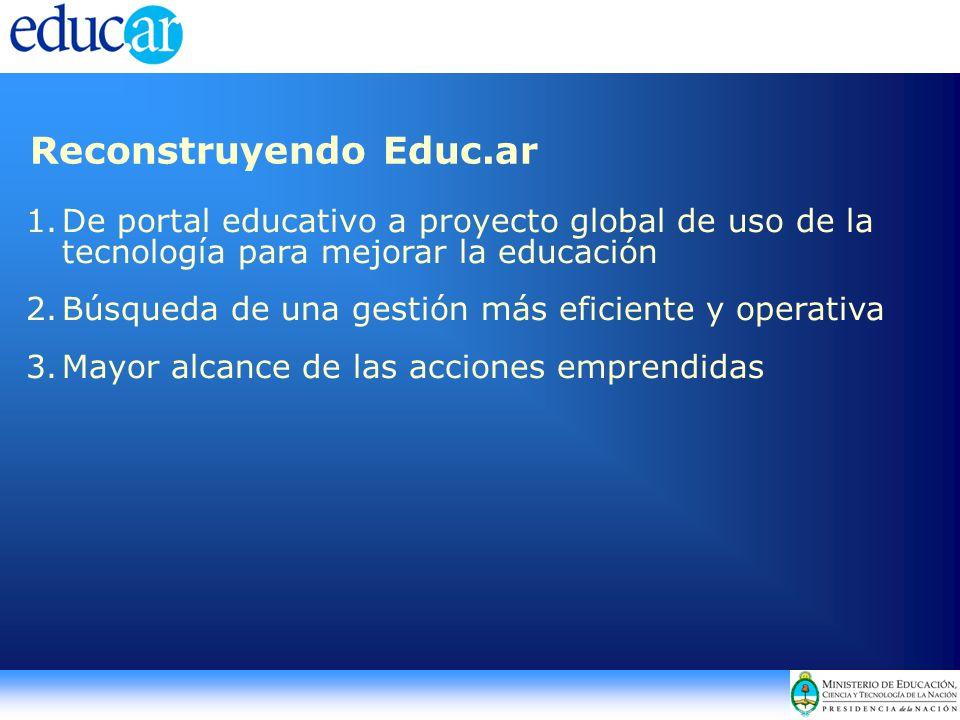1.De portal educativo a proyecto global de uso de la tecnología para mejorar la educación 2.Búsqueda de una gestión más eficiente y operativa 3.Mayor alcance de las acciones emprendidas Reconstruyendo Educ.ar