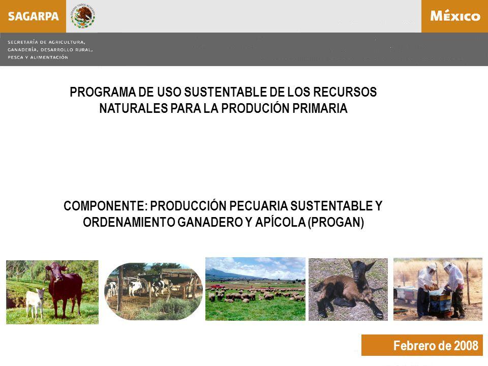 Febrero de 2008 PROGRAMA DE USO SUSTENTABLE DE LOS RECURSOS NATURALES PARA LA PRODUCIÓN PRIMARIA COMPONENTE: PRODUCCIÓN PECUARIA SUSTENTABLE Y ORDENAMIENTO GANADERO Y APÍCOLA (PROGAN)
