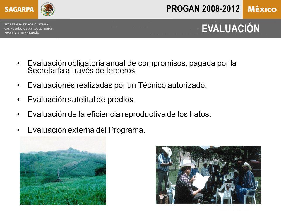 Evaluación obligatoria anual de compromisos, pagada por la Secretaría a través de terceros.