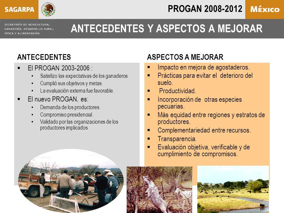 ANTECEDENTES Y ASPECTOS A MEJORAR  El PROGAN 2003-2006 : Satisfizo las expectativas de los ganaderos.