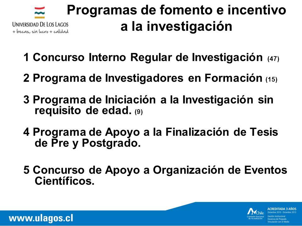1 Concurso Interno Regular de Investigación (47) 2 Programa de Investigadores en Formación (15) 3 Programa de Iniciación a la Investigación sin requisito de edad.