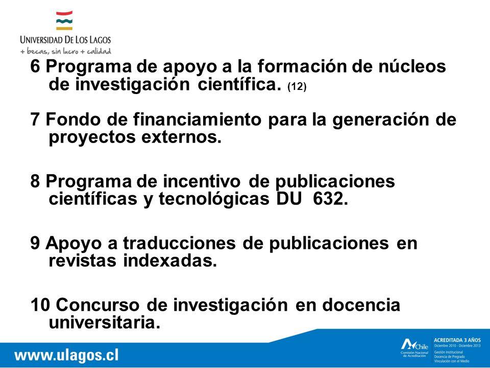 6 Programa de apoyo a la formación de núcleos de investigación científica.