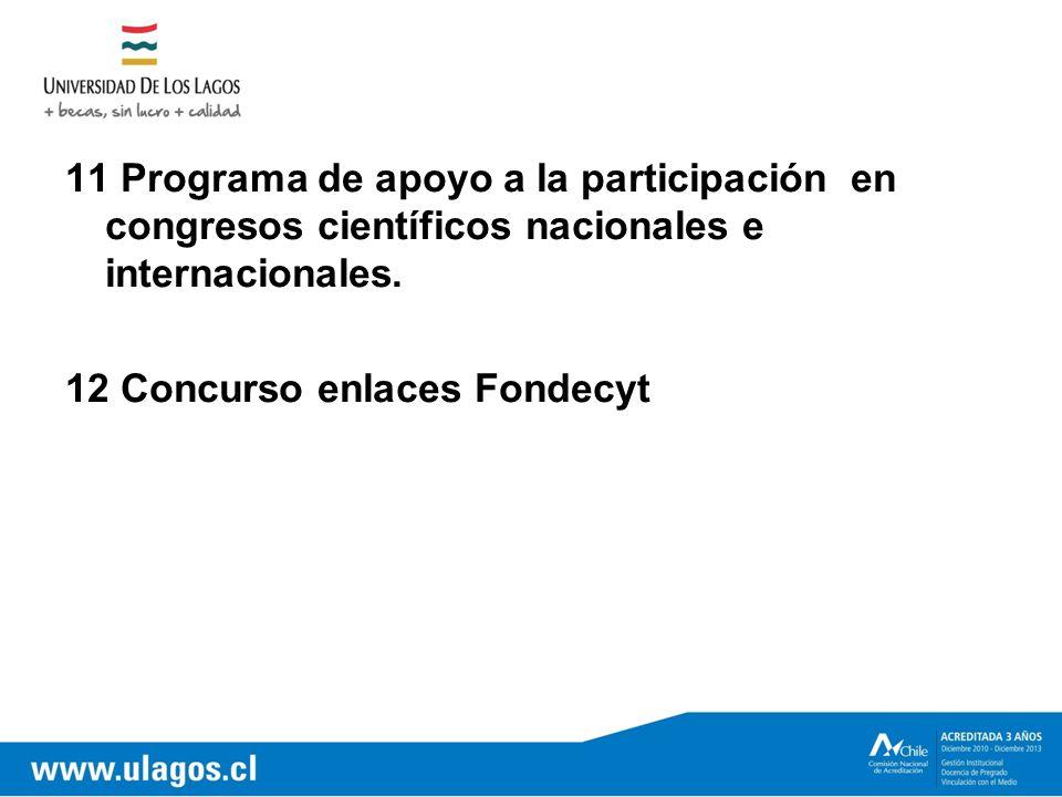 11 Programa de apoyo a la participación en congresos científicos nacionales e internacionales.