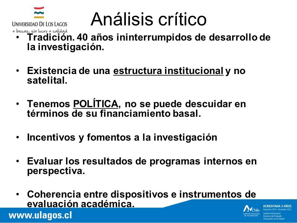 Análisis crítico Tradición. 40 años ininterrumpidos de desarrollo de la investigación.
