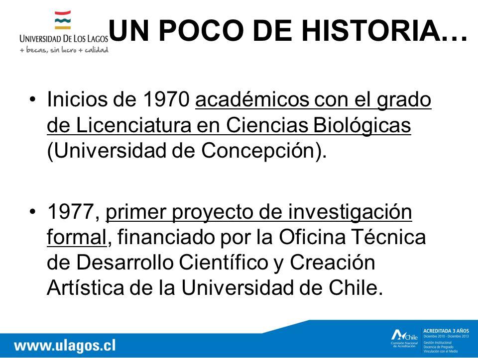 UN POCO DE HISTORIA… Inicios de 1970 académicos con el grado de Licenciatura en Ciencias Biológicas (Universidad de Concepción).