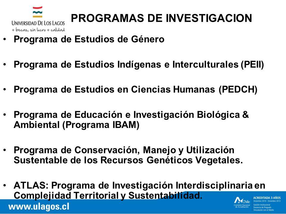 PROGRAMAS DE INVESTIGACION Programa de Estudios de Género Programa de Estudios Indígenas e Interculturales (PEII) Programa de Estudios en Ciencias Humanas (PEDCH) Programa de Educación e Investigación Biológica & Ambiental (Programa IBAM) Programa de Conservación, Manejo y Utilización Sustentable de los Recursos Genéticos Vegetales.