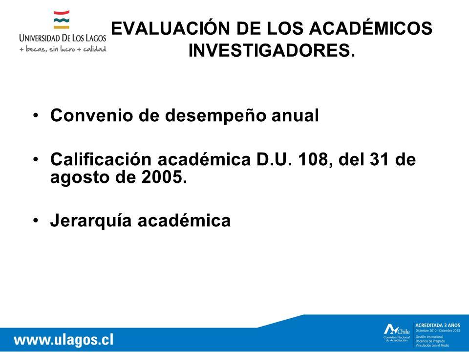 EVALUACIÓN DE LOS ACADÉMICOS INVESTIGADORES.
