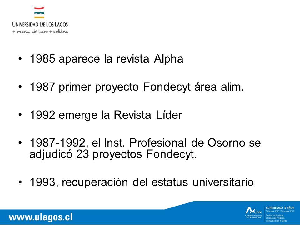 1985 aparece la revista Alpha 1987 primer proyecto Fondecyt área alim.