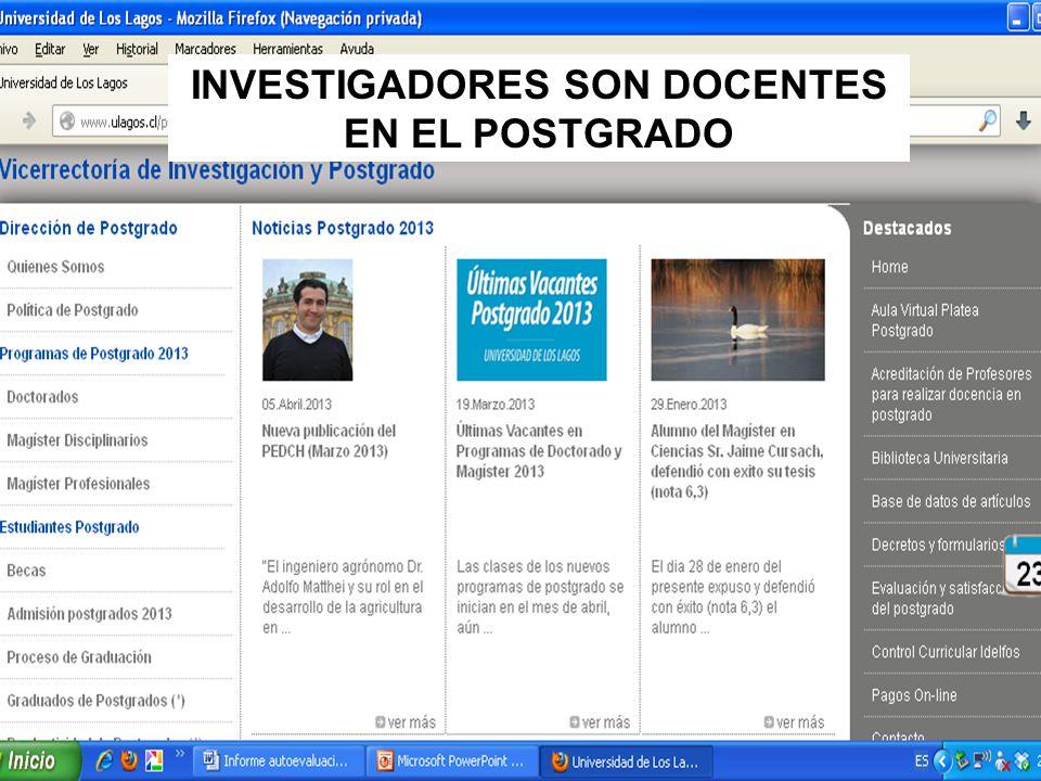 INVESTIGADORES SON DOCENTES EN EL POSTGRADO