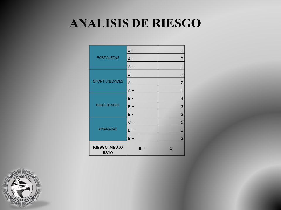FORTALEZAS A +1 A -2 A +1 OPORTUNIDADES A -2 2 A +1 DEBILIDADES B -4 B +3 B -3 AMANAZAS C +5 B +3 3 RIESGO MEDIO BAJO B +3 ANALISIS DE RIESGO