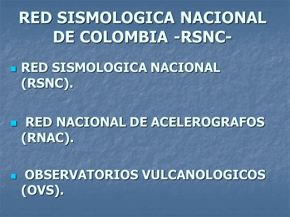 RED SISMOLOGICA NACIONAL DE COLOMBIA -RSNC- RED SISMOLOGICA NACIONAL (RSNC).