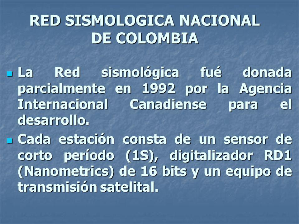 RED SISMOLOGICA NACIONAL DE COLOMBIA La Red sismológica fué donada parcialmente en 1992 por la Agencia Internacional Canadiense para el desarrollo.