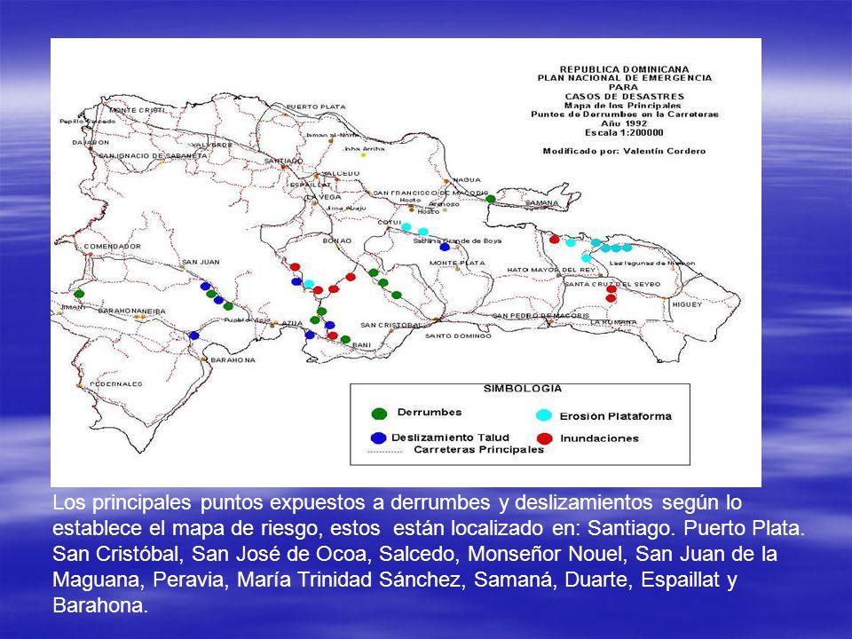 Los principales puntos expuestos a derrumbes y deslizamientos según lo establece el mapa de riesgo, estos están localizado en: Santiago.