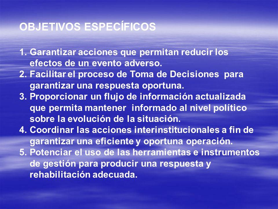 OBJETIVOS ESPECÍFICOS 1.Garantizar acciones que permitan reducir los efectos de un evento adverso.