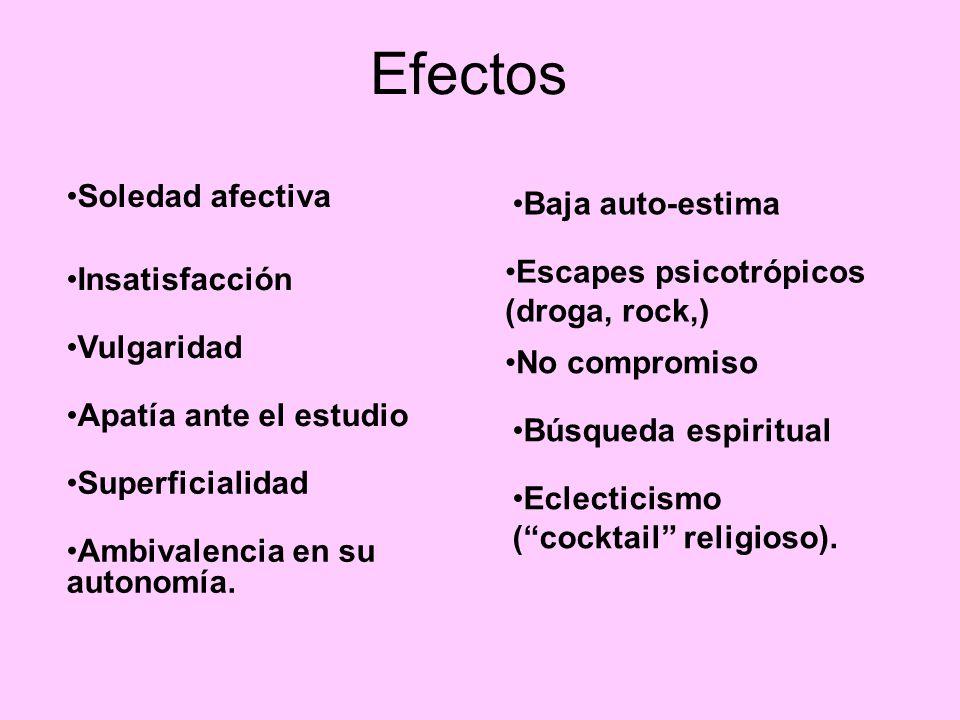 Efectos Soledad afectiva Insatisfacción Vulgaridad Apatía ante el estudio Superficialidad Ambivalencia en su autonomía.