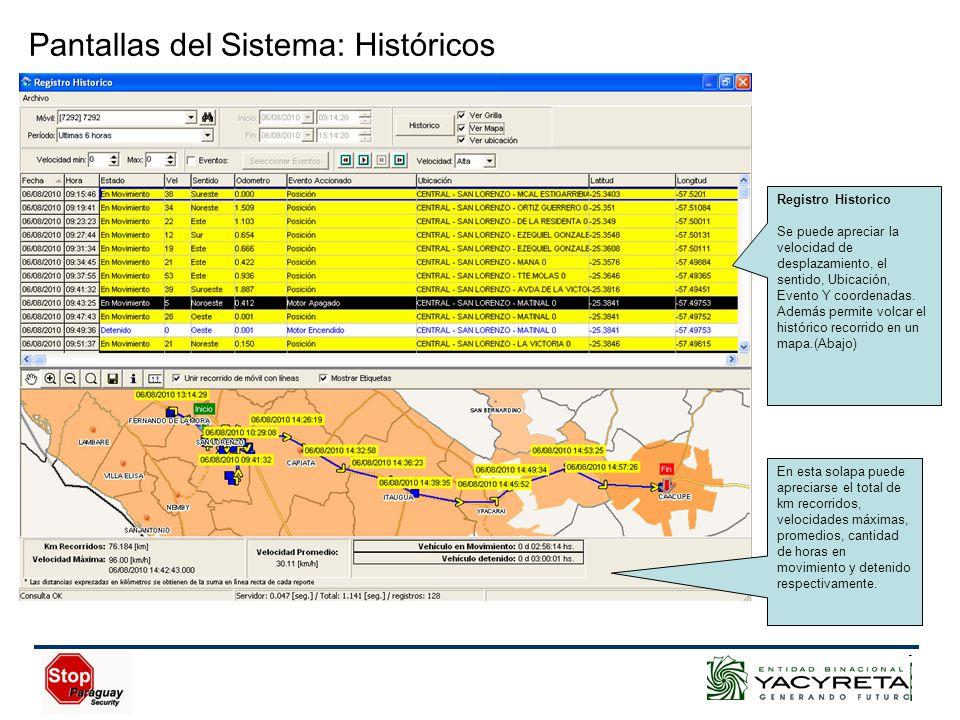 Pantallas del Sistema: Históricos Registro Hístorico Se puede apreciar la velocidad de desplazamiento, el sentido, Ubicación, Evento Y coordenadas.
