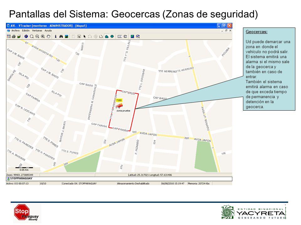 Geocercas: Ud puede demarcar una zona en donde el vehículo no podrá salir.
