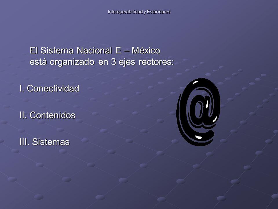 El Sistema Nacional E – México está organizado en 3 ejes rectores: I.