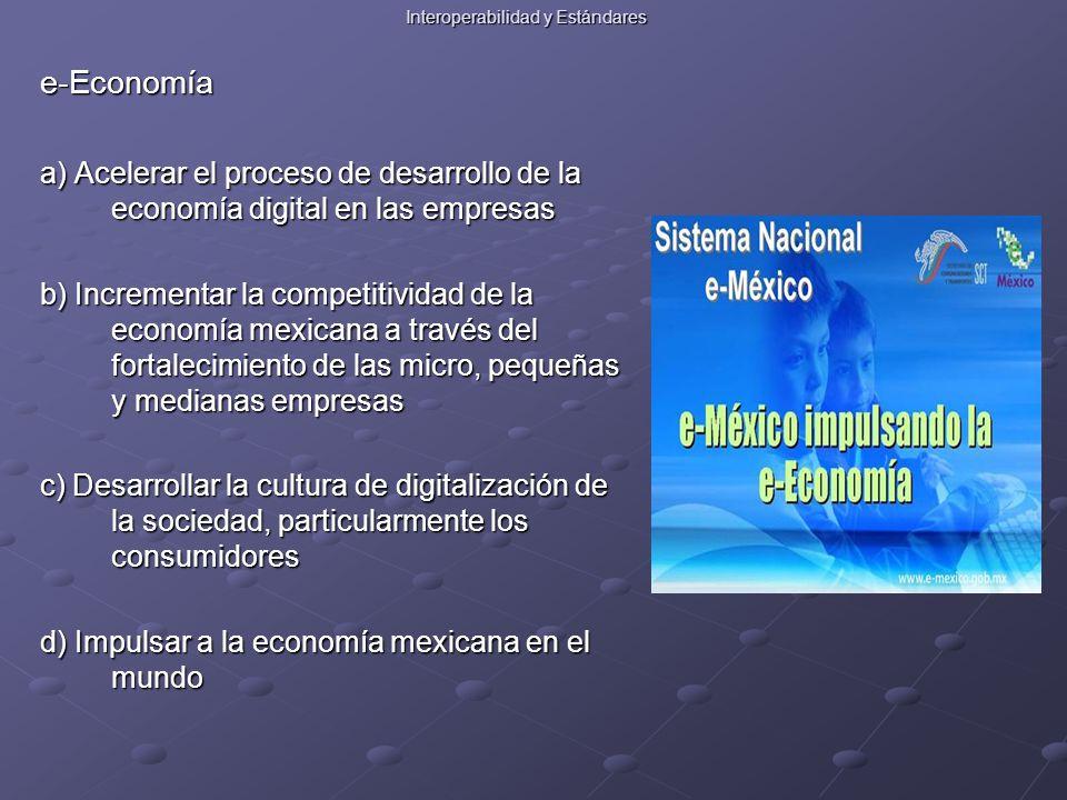 Interoperabilidad y Estándares e-Economía a) Acelerar el proceso de desarrollo de la economía digital en las empresas b) Incrementar la competitividad de la economía mexicana a través del fortalecimiento de las micro, pequeñas y medianas empresas c) Desarrollar la cultura de digitalización de la sociedad, particularmente los consumidores d) Impulsar a la economía mexicana en el mundo