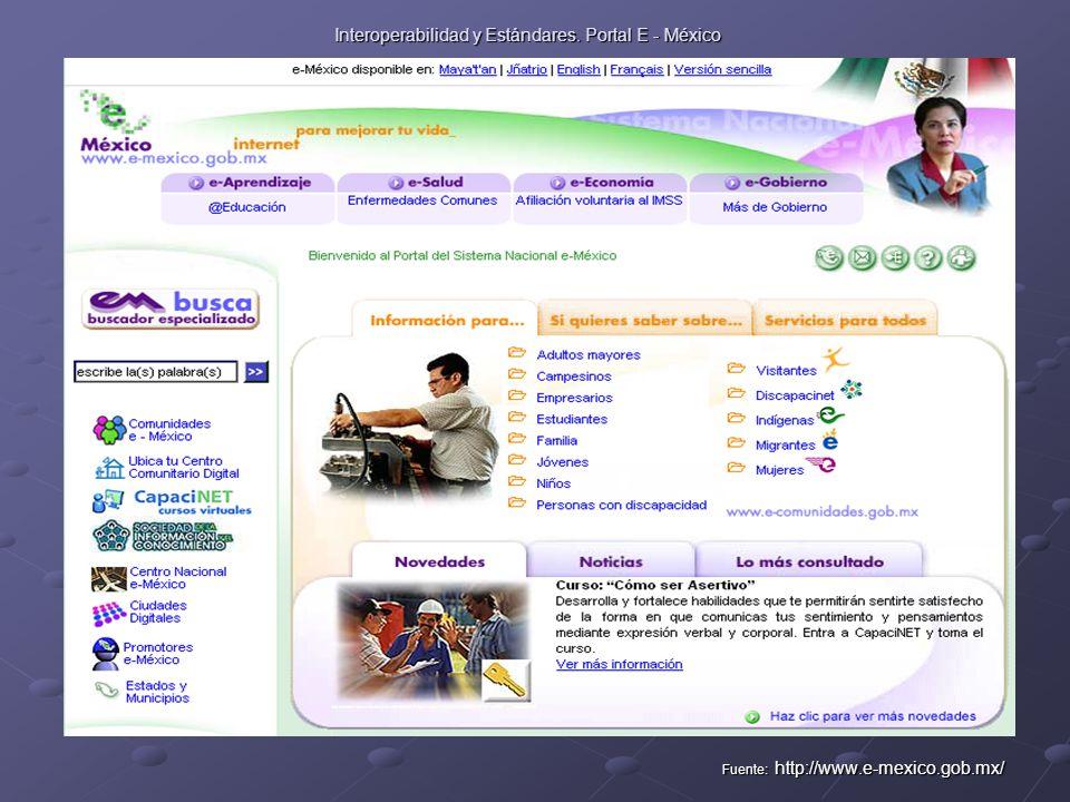 Interoperabilidad y Estándares. Portal E - México Fuente: http://www.e-mexico.gob.mx/
