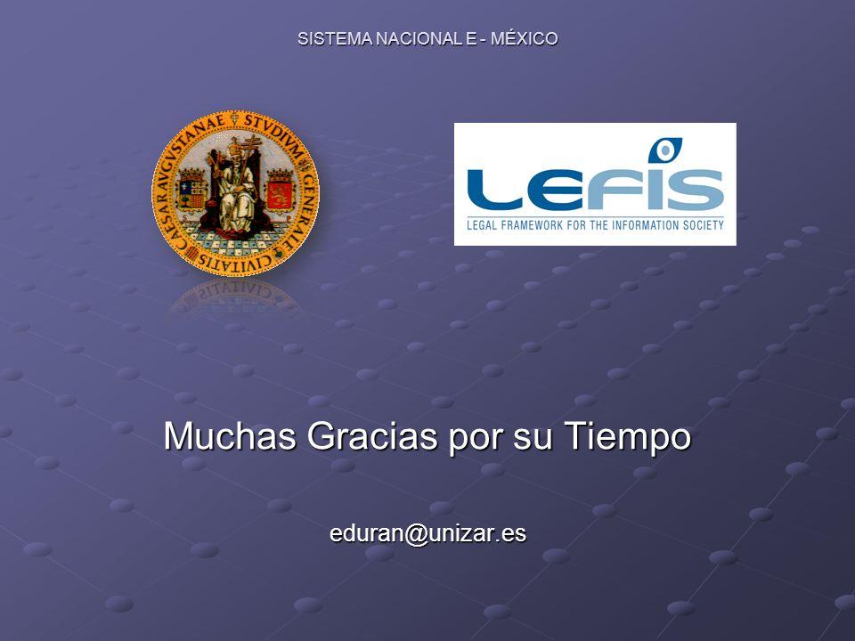 SISTEMA NACIONAL E - MÉXICO Muchas Gracias por su Tiempo eduran@unizar.es