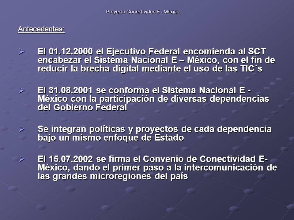 Proyecto Conectividad E - México Antecedentes:  El 01.12.2000 el Ejecutivo Federal encomienda al SCT encabezar el Sistema Nacional E – México, con el fin de reducir la brecha digital mediante el uso de las TIC´s  El 31.08.2001 se conforma el Sistema Nacional E - México con la participación de diversas dependencias del Gobierno Federal  Se integran políticas y proyectos de cada dependencia bajo un mismo enfoque de Estado  El 15.07.2002 se firma el Convenio de Conectividad E- México, dando el primer paso a la intercomunicación de las grandes microregiones del país