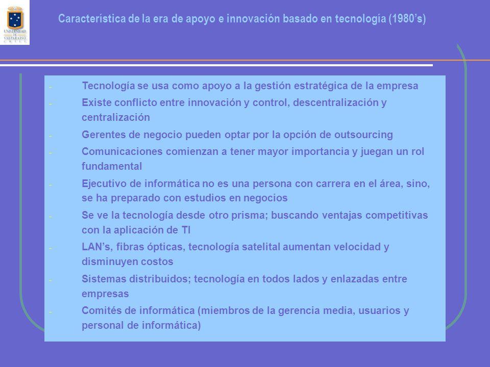 - Tecnología se usa como apoyo a la gestión estratégica de la empresa - Existe conflicto entre innovación y control, descentralización y centralización - Gerentes de negocio pueden optar por la opción de outsourcing - Comunicaciones comienzan a tener mayor importancia y juegan un rol fundamental - Ejecutivo de informática no es una persona con carrera en el área, sino, se ha preparado con estudios en negocios - Se ve la tecnología desde otro prisma; buscando ventajas competitivas con la aplicación de TI - LAN's, fibras ópticas, tecnología satelital aumentan velocidad y disminuyen costos - Sistemas distribuidos; tecnología en todos lados y enlazadas entre empresas - Comités de informática (miembros de la gerencia media, usuarios y personal de informática) Característica de la era de apoyo e innovación basado en tecnología (1980's)