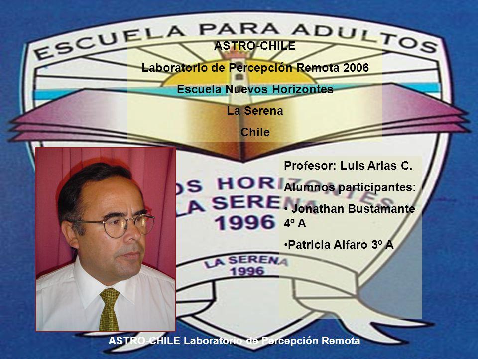 ASTRO-CHILE Laboratorio de Percepción Remota 2006 Escuela Nuevos Horizontes La Serena Chile Profesor: Luis Arias C.