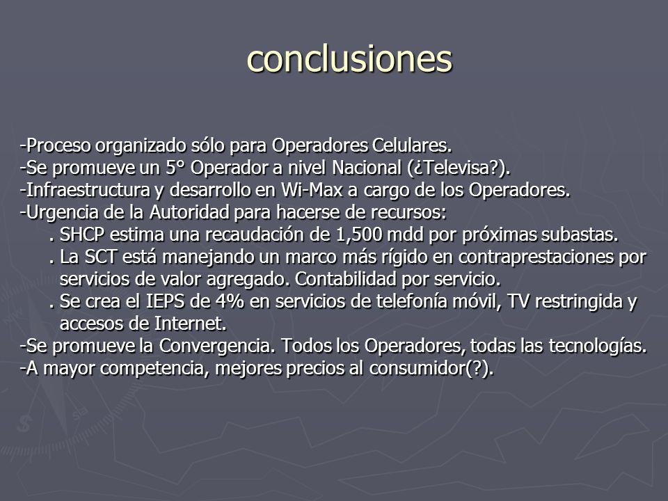 conclusiones -Proceso organizado sólo para Operadores Celulares.