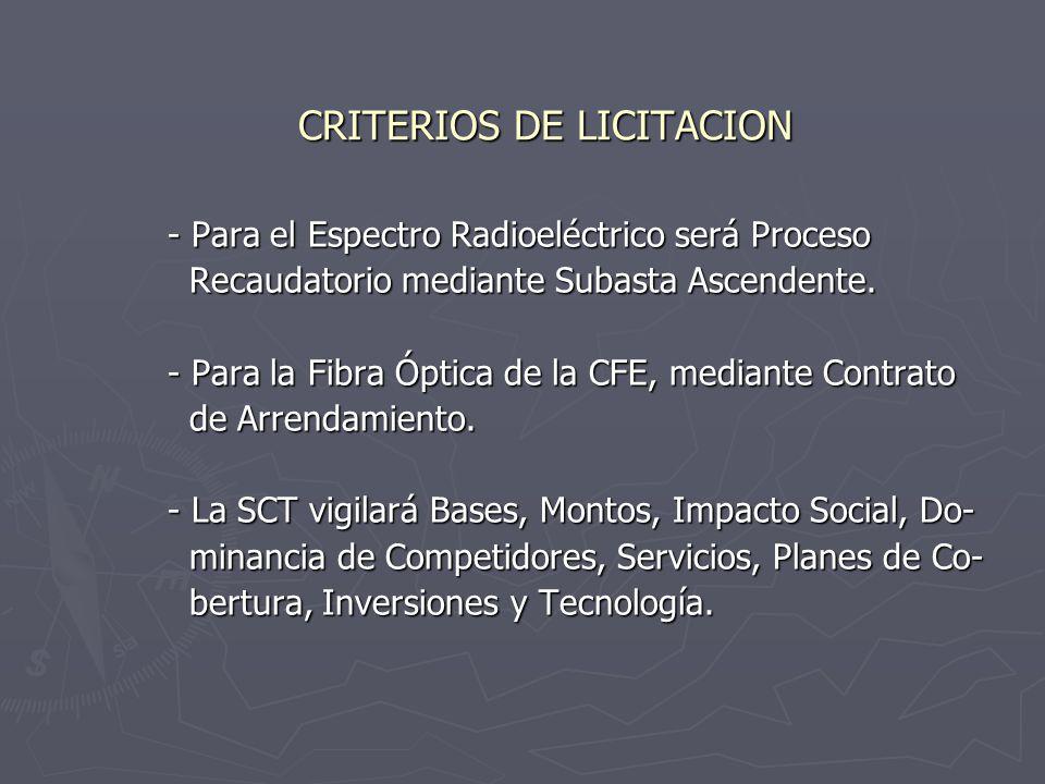 CRITERIOS DE LICITACION - Para el Espectro Radioeléctrico será Proceso Recaudatorio mediante Subasta Ascendente.