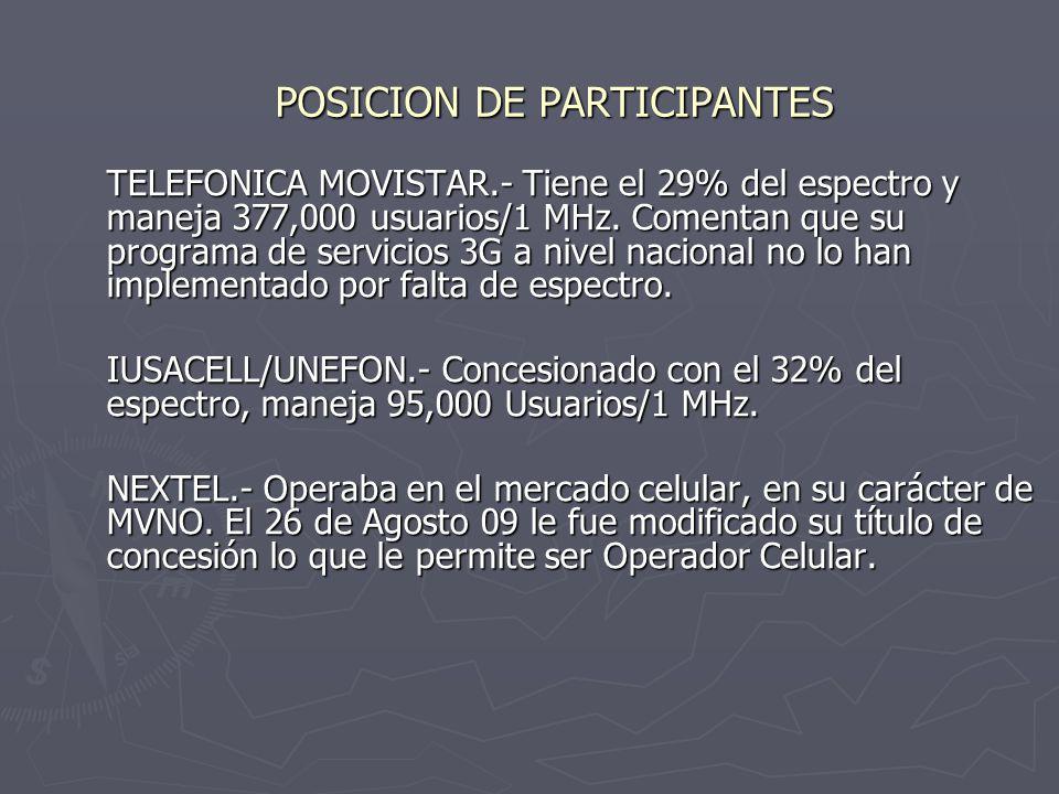 POSICION DE PARTICIPANTES TELEFONICA MOVISTAR.- Tiene el 29% del espectro y maneja 377,000 usuarios/1 MHz.
