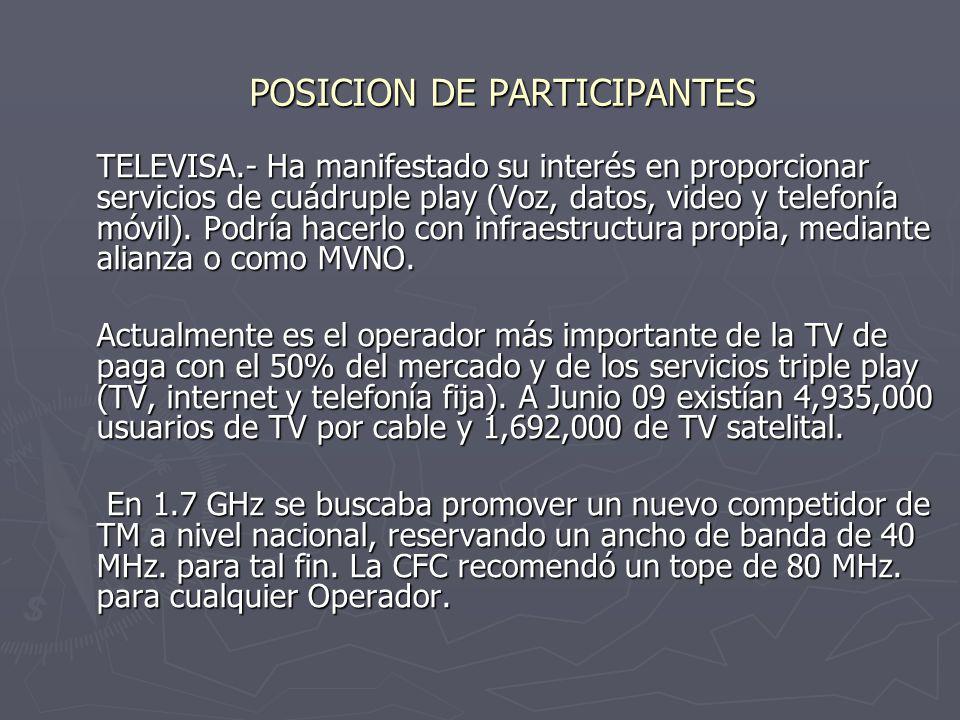 POSICION DE PARTICIPANTES TELEVISA.- Ha manifestado su interés en proporcionar servicios de cuádruple play (Voz, datos, video y telefonía móvil).