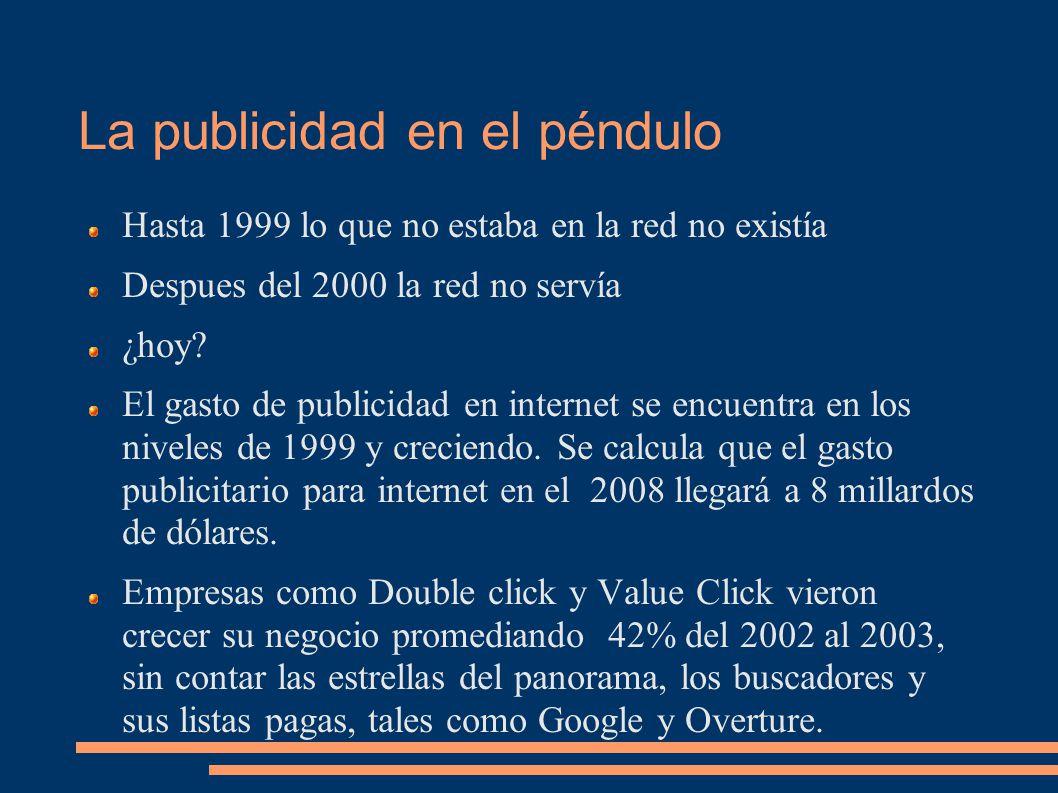 La publicidad en el péndulo Hasta 1999 lo que no estaba en la red no existía Despues del 2000 la red no servía ¿hoy.