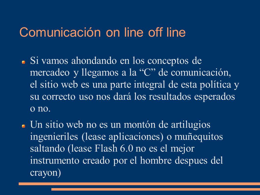 Comunicación on line off line Si vamos ahondando en los conceptos de mercadeo y llegamos a la C de comunicación, el sitio web es una parte integral de esta política y su correcto uso nos dará los resultados esperados o no.