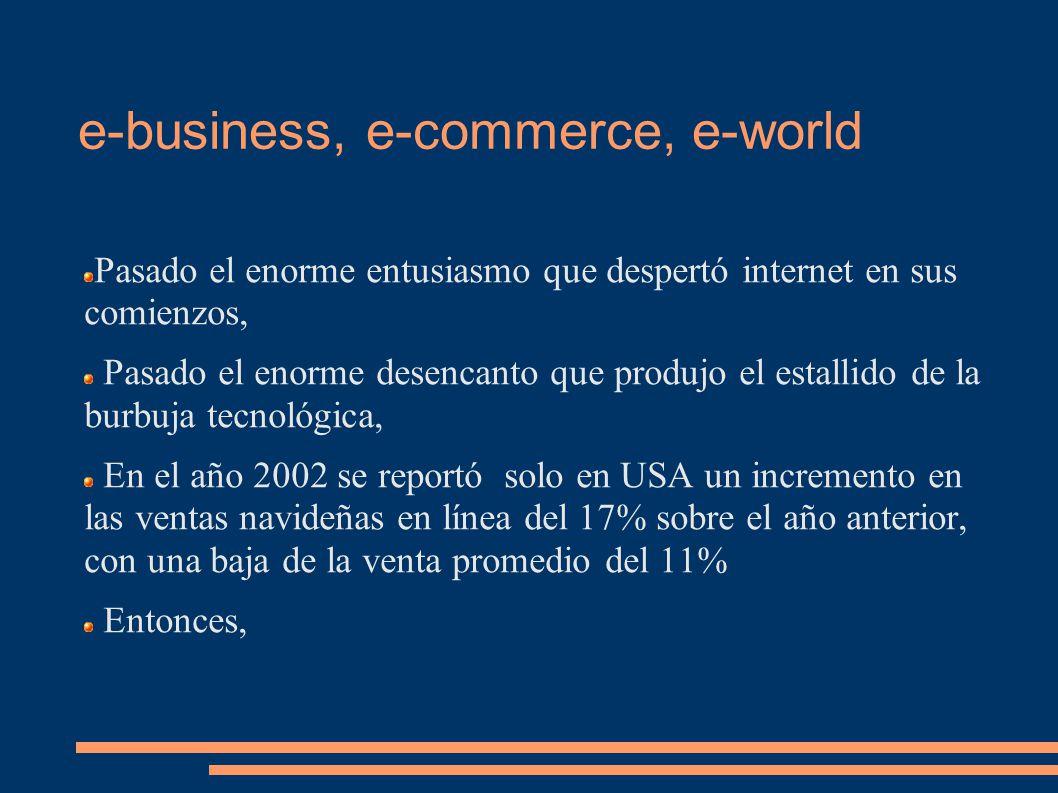 e-business, e-commerce, e-world Pasado el enorme entusiasmo que despertó internet en sus comienzos, Pasado el enorme desencanto que produjo el estallido de la burbuja tecnológica, En el año 2002 se reportó solo en USA un incremento en las ventas navideñas en línea del 17% sobre el año anterior, con una baja de la venta promedio del 11% Entonces,