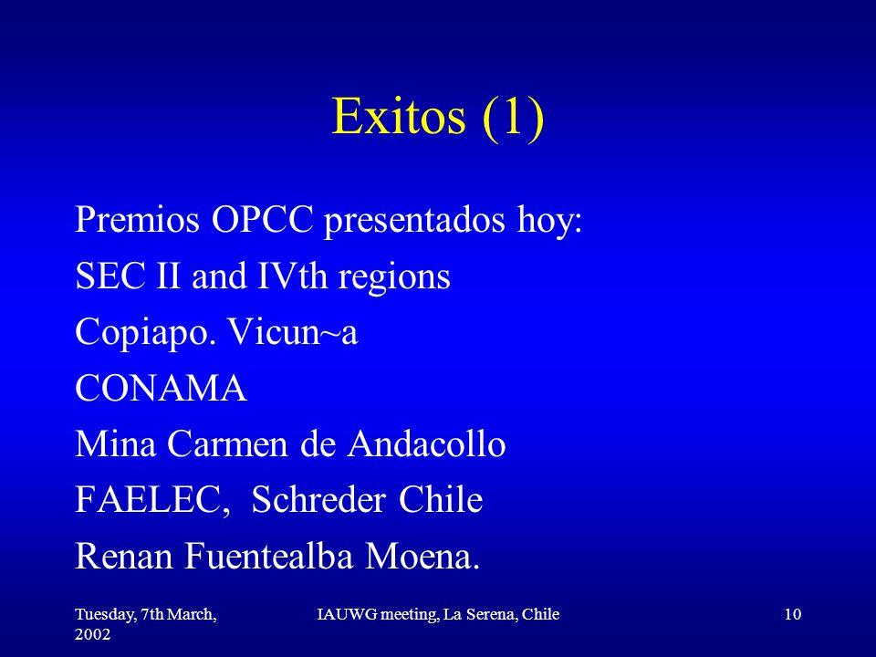 Tuesday, 7th March, 2002 IAUWG meeting, La Serena, Chile10 Exitos (1) Premios OPCC presentados hoy: SEC II and IVth regions Copiapo.