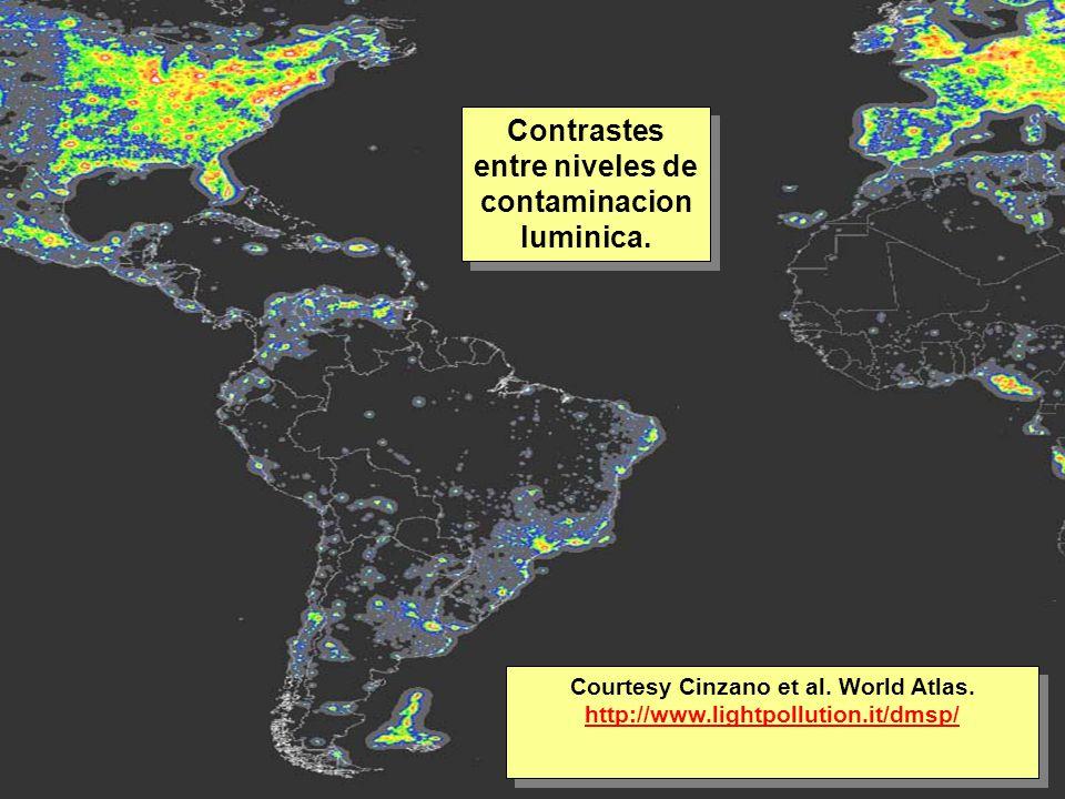 Tuesday, 7th March, 2002 IAUWG meeting, La Serena, Chile42 Contrastes entre niveles de contaminacion luminica.