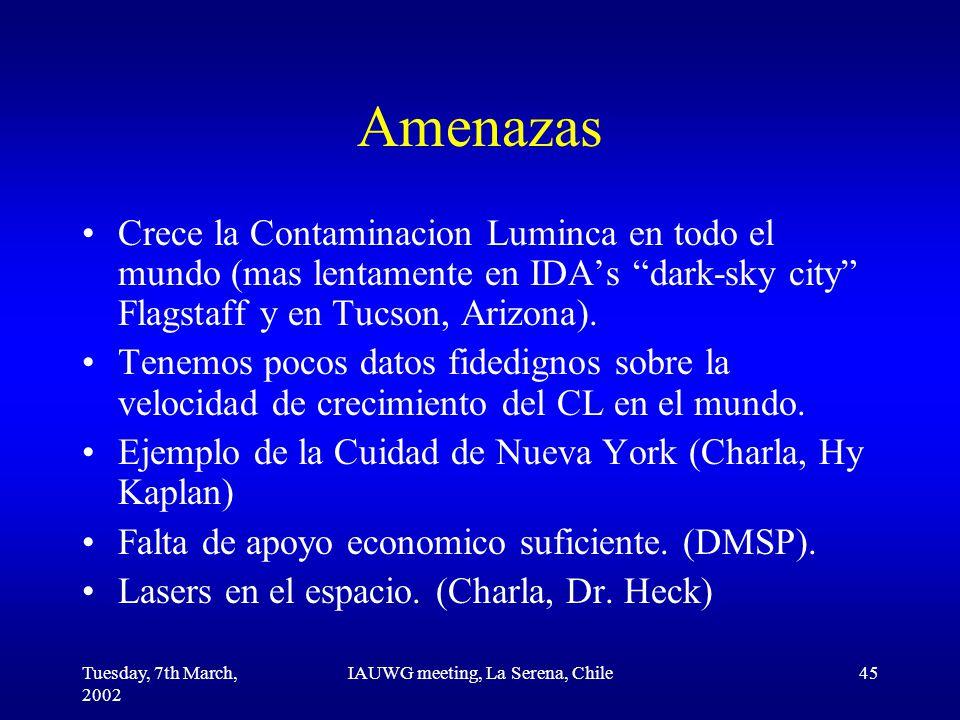 Tuesday, 7th March, 2002 IAUWG meeting, La Serena, Chile45 Amenazas Crece la Contaminacion Luminca en todo el mundo (mas lentamente en IDA's dark-sky city Flagstaff y en Tucson, Arizona).