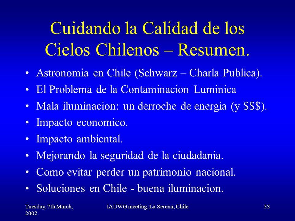 Tuesday, 7th March, 2002 IAUWG meeting, La Serena, Chile53 Cuidando la Calidad de los Cielos Chilenos – Resumen.