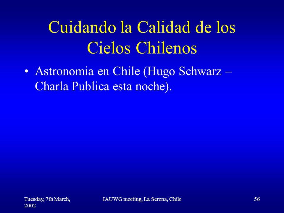 Tuesday, 7th March, 2002 IAUWG meeting, La Serena, Chile56 Cuidando la Calidad de los Cielos Chilenos Astronomia en Chile (Hugo Schwarz – Charla Publica esta noche).