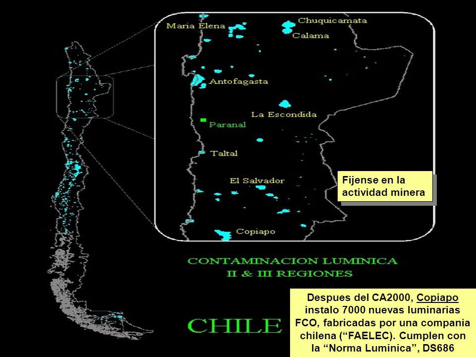 Tuesday, 7th March, 2002 IAUWG meeting, La Serena, Chile58 Despues del CA2000, Copiapo instalo 7000 nuevas luminarias FCO, fabricadas por una compania chilena ( FAELEC).