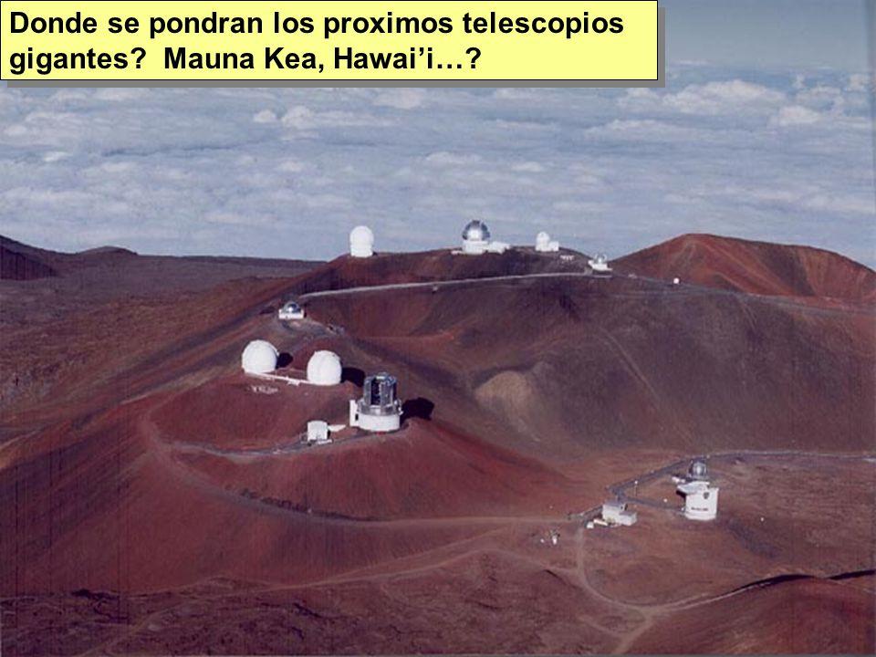 Tuesday, 7th March, 2002 IAUWG meeting, La Serena, Chile73 Donde se pondran los proximos telescopios gigantes.